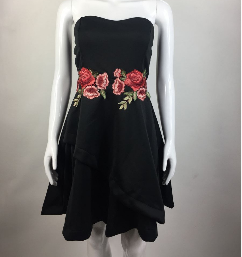 Image of Sexy embroidered floral print dress