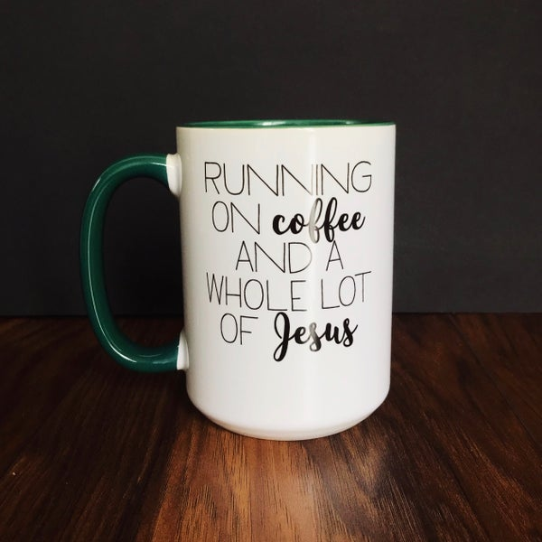 Image of Running on Coffee & Jesus Mega Mug