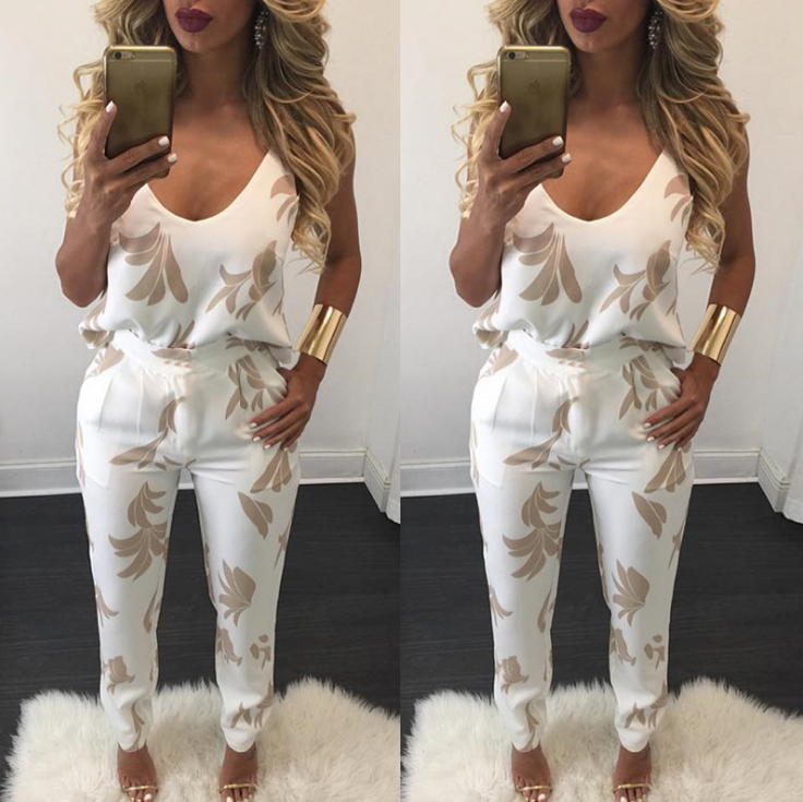 Image of Hot style sexy strap v-neck print pants two-piece suit