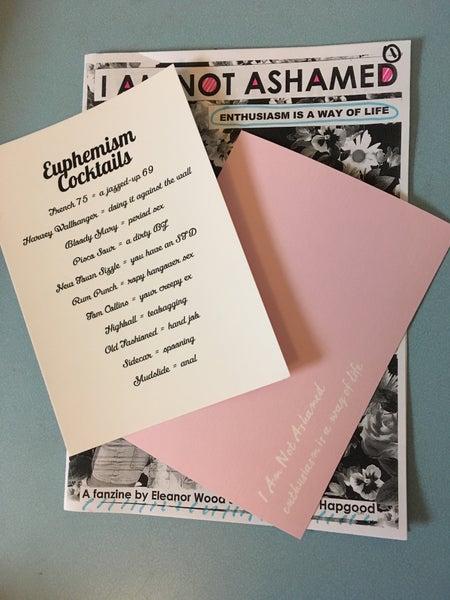 Image of I AM NOT ASHAMED 'Euphemism Cocktails' postcards