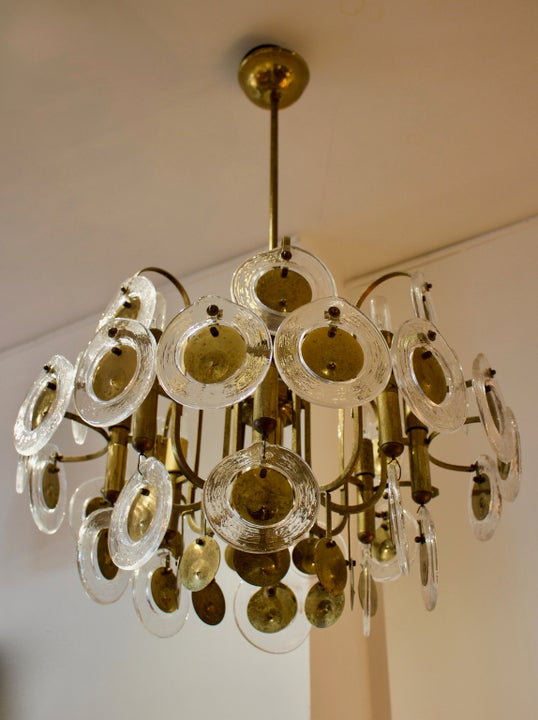 Image of Italian Chandelier with Art Glass Rings