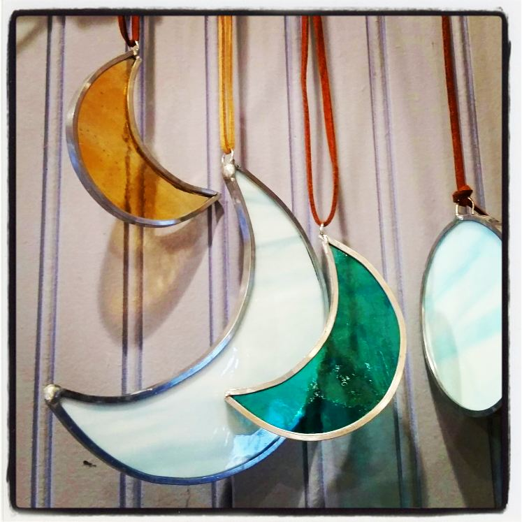 Image of *Mini Cresent Moon-stained glass