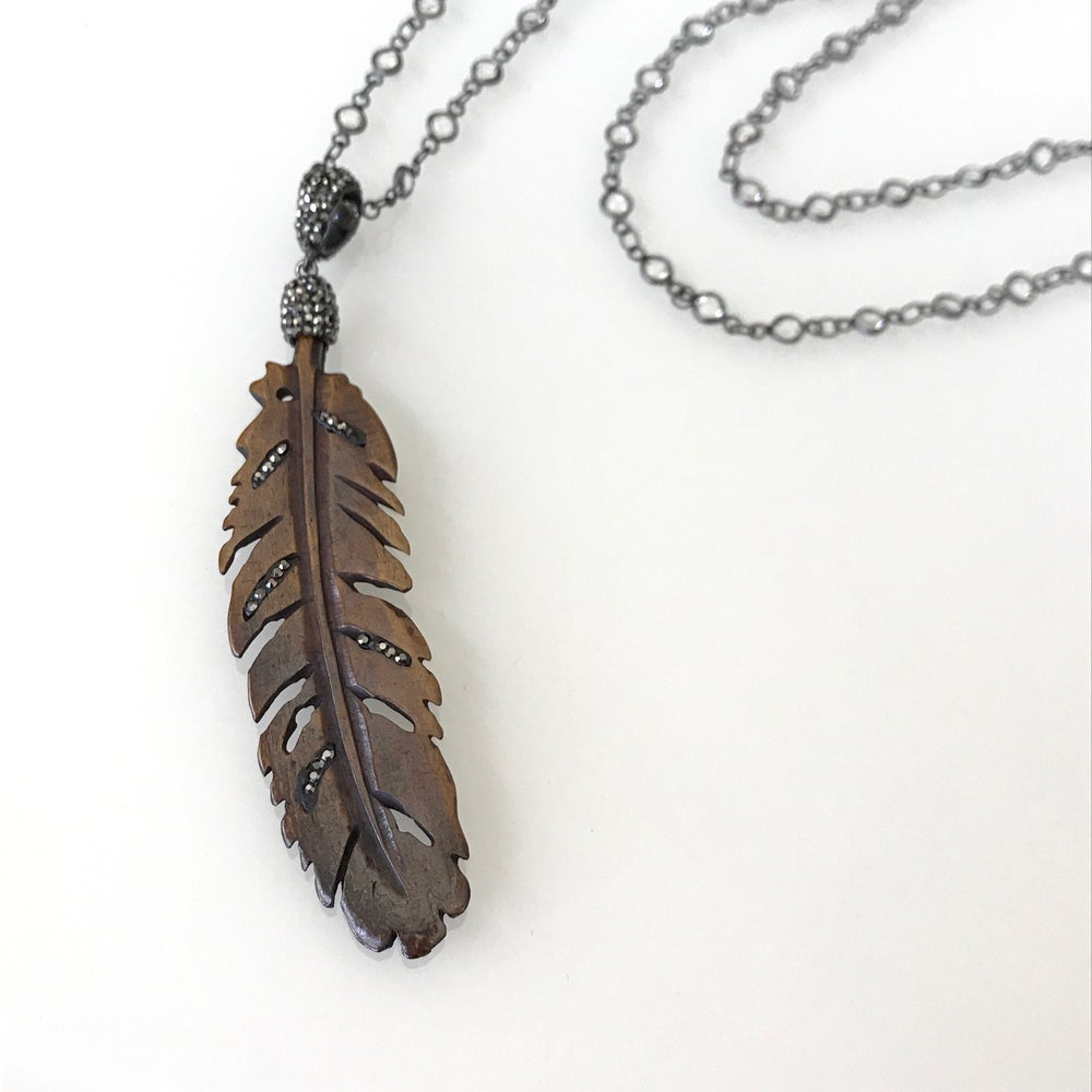 Image of Wood Feather Necklace