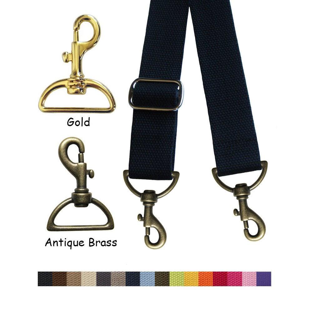"Image of Cotton Canvas Webbing Strap - Adjustable - 1.5"" Wide - Choose Color, Length & Gold-tone Hook #19"