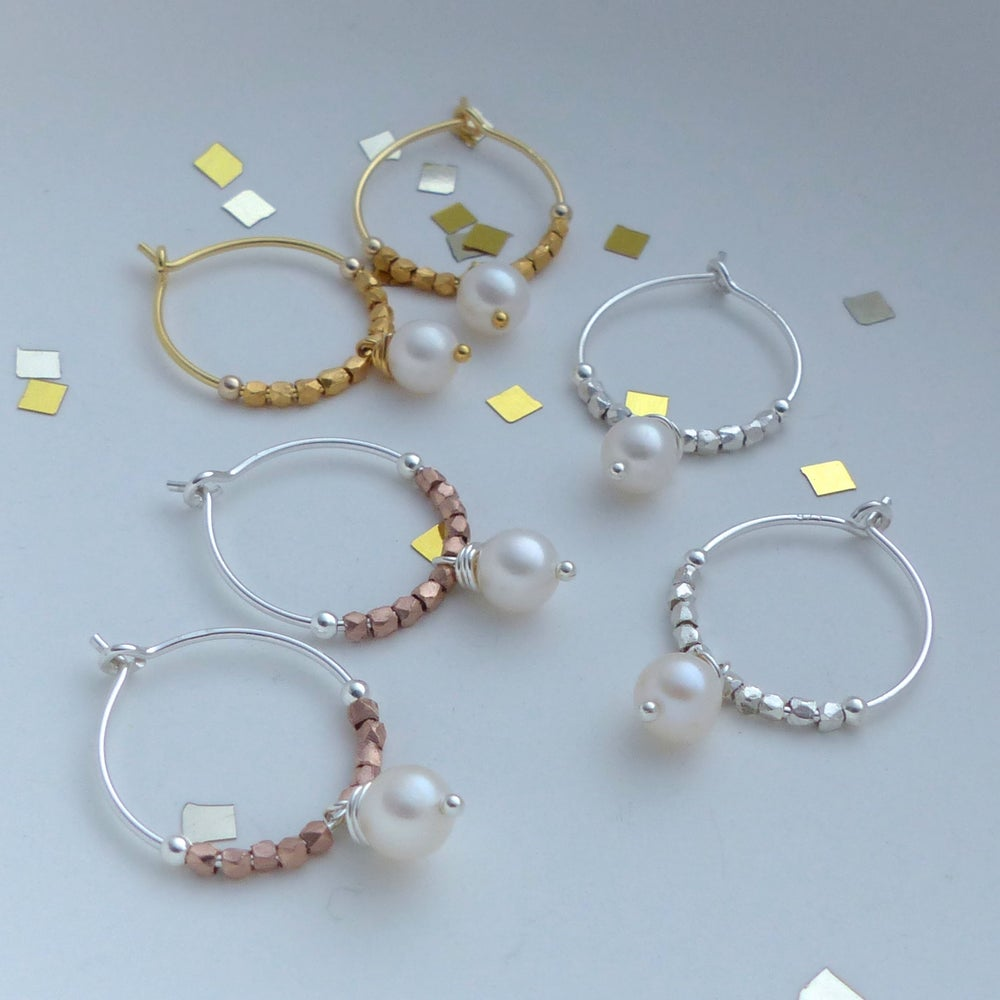 Image of Round Freshwater Pearls And Precious Metal Fair Trade Hoops