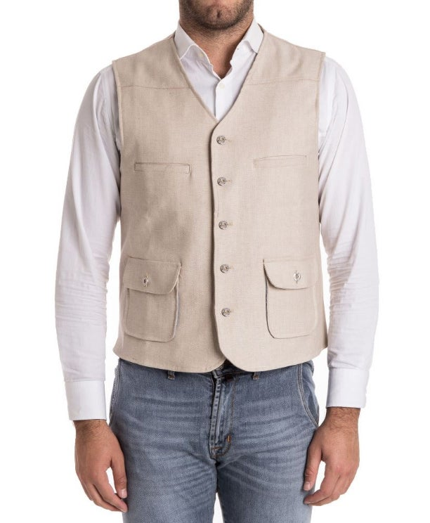 Image of GILET DENIM BEIGE R90BE