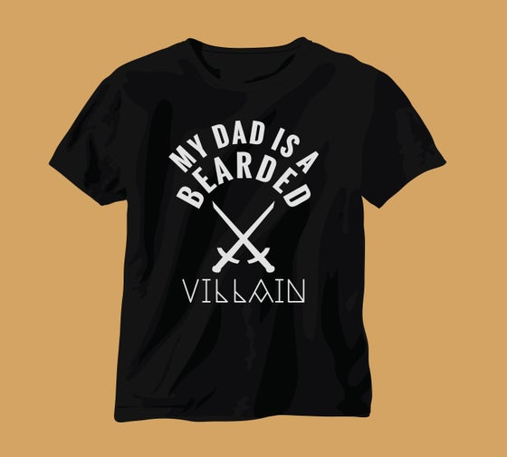 "Image of "" DAD IS A BEARDED VILLAIN "" Kids Tee"