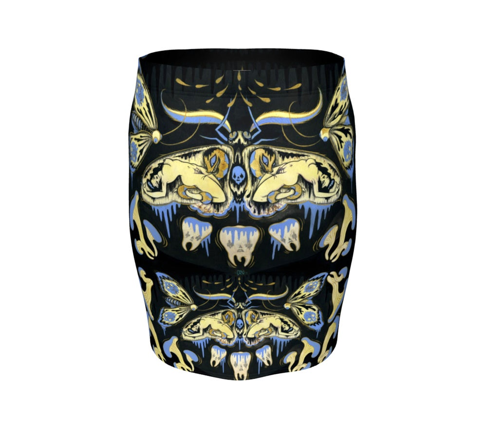 """Image of """"Ghostmoth Dreams"""" Fitted Skirt"""