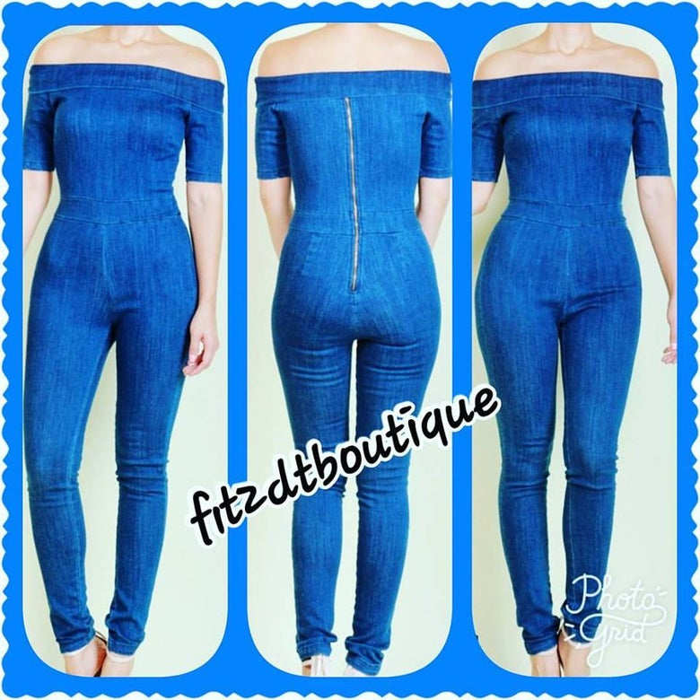 Image of Plus Blue Jean romper