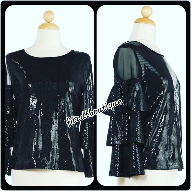 Image of Sequined and Sheer Glamour Top