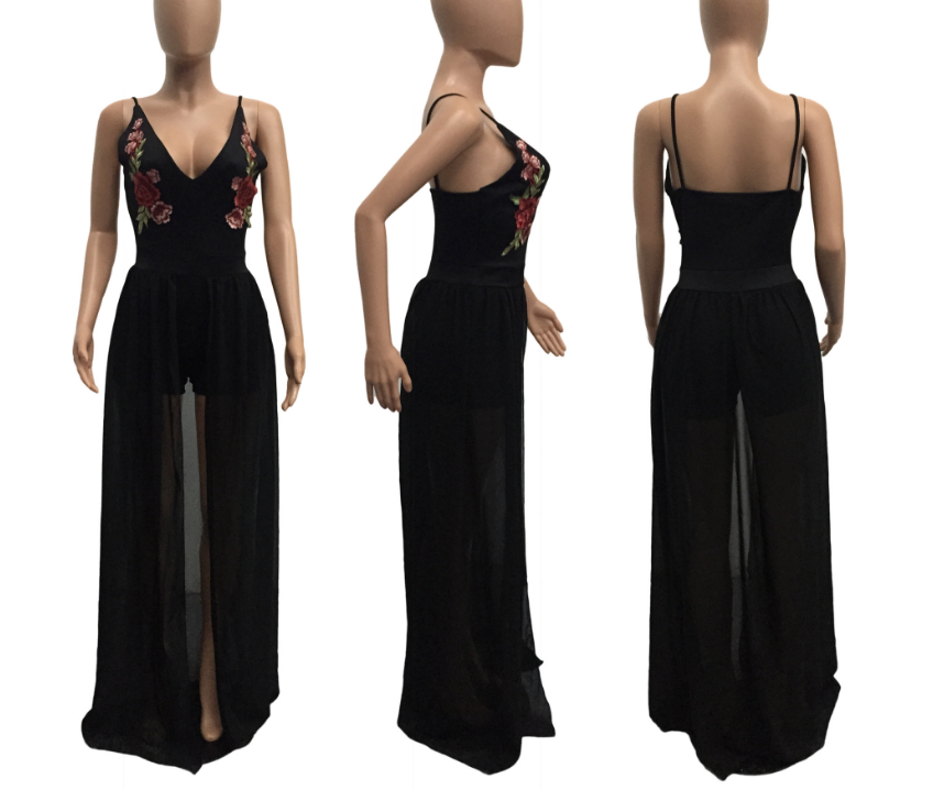 Image of Condole belt sexy nightclub deep V embroidery jumpsuit