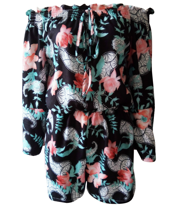 Image of Sexy print a long sleeve jumpsuit
