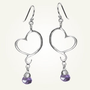Image of Aphrodite Mini Heart Earrings with Amethyst, Sterling Silver