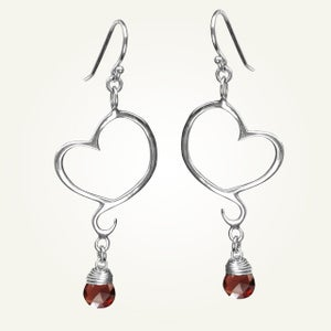 Image of Aphrodite Mini Heart Earrings with Garnet, Sterling Silver