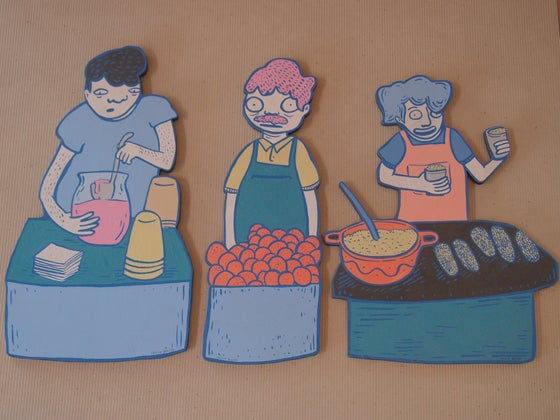 Image of Cecilia Beaven's characters from her CDMX neighborhood: Portales.