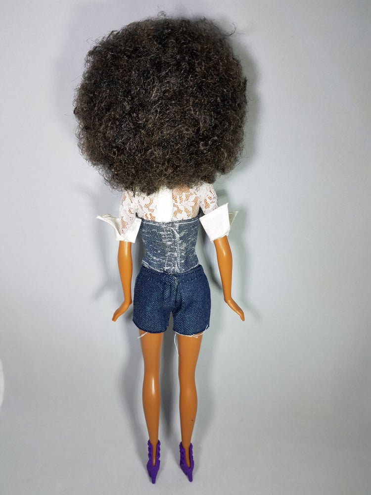 Image of Denim Corset With Lace Top X Tie Afro Collector Doll