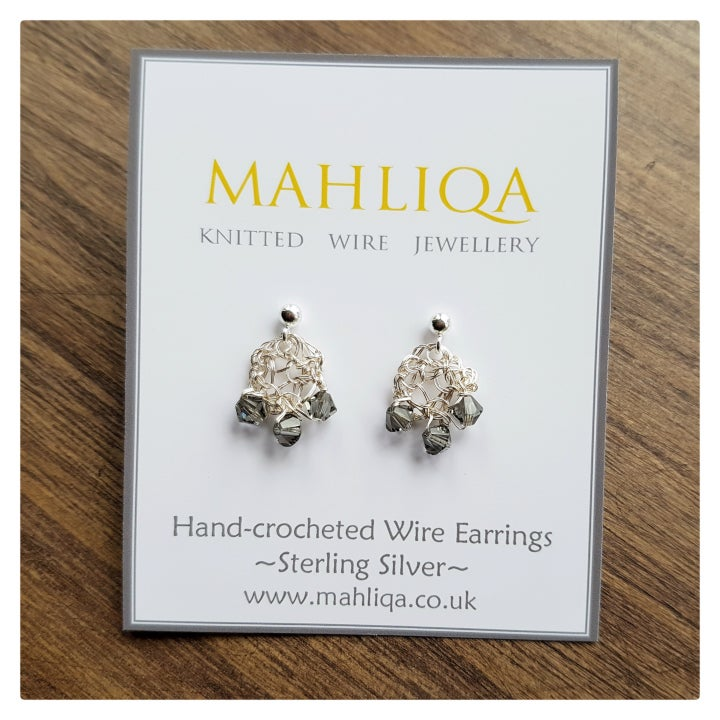 Image of Dewdrop Wire Earrings - Silver & Crystal