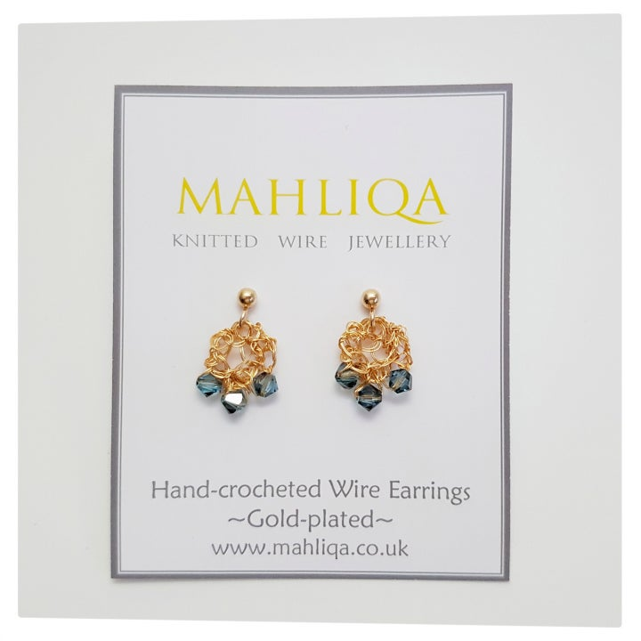 Image of Dewdrop Wire Earrings - Gold & Crystal