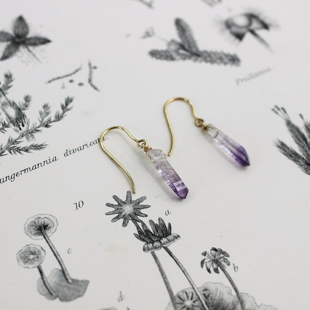Image of *NEW* amethyst crystal earrings in gold or silver