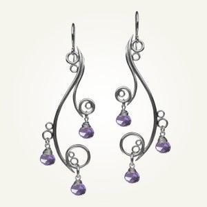 Image of Greek Isle Earrings with Amethyst, Sterling Silver