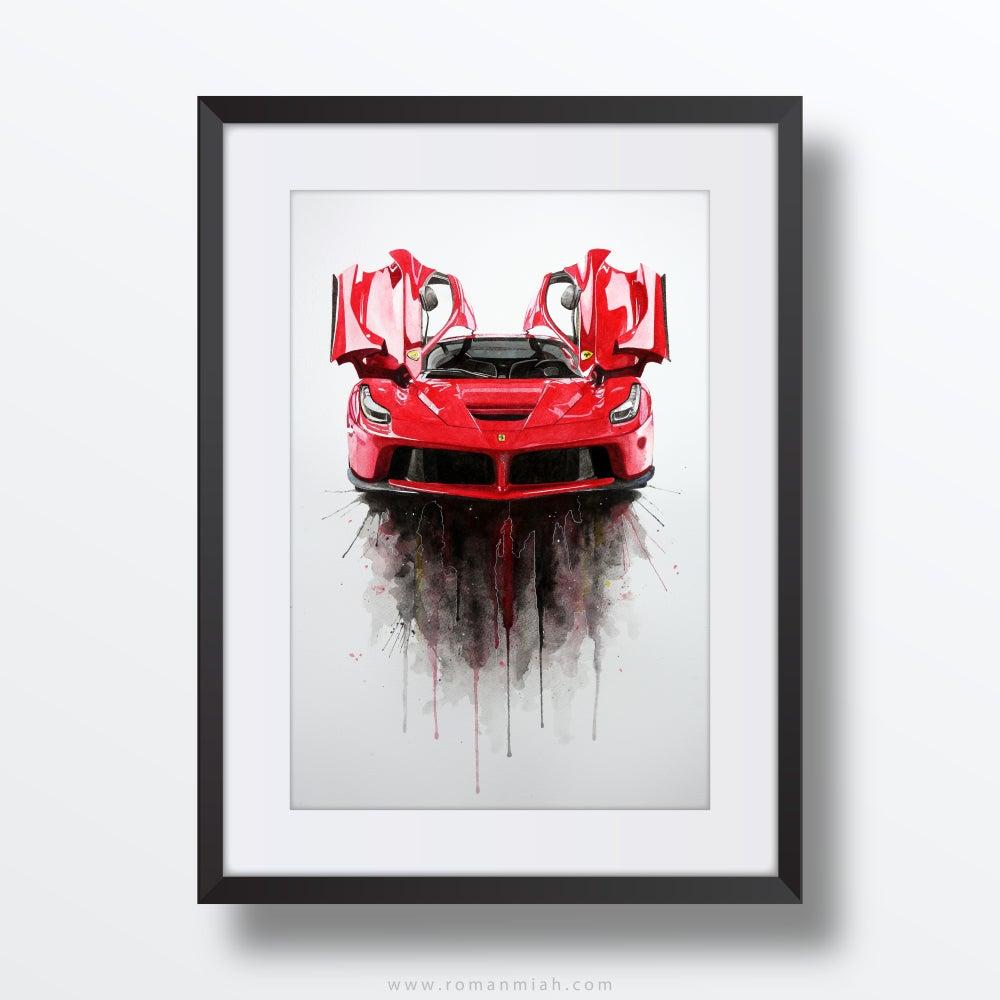Image of Ferrari LaFerrari Original Watercolour Painting