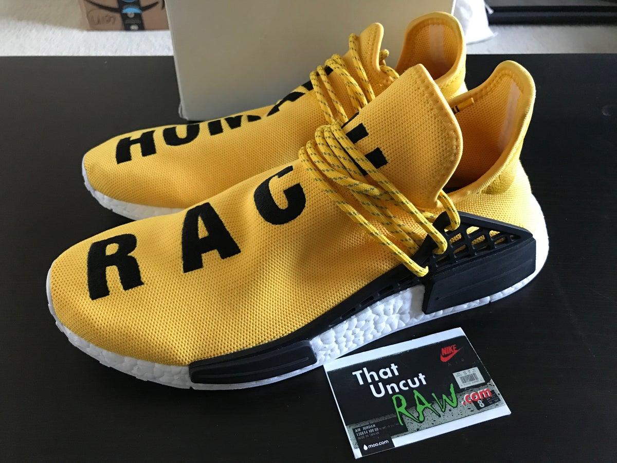 "Image of adidas pw human race nmd ""yellow"", used, size 10.5"