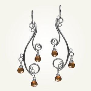 Image of Greek Isle Earrings with Orange Topaz, Sterling Silver