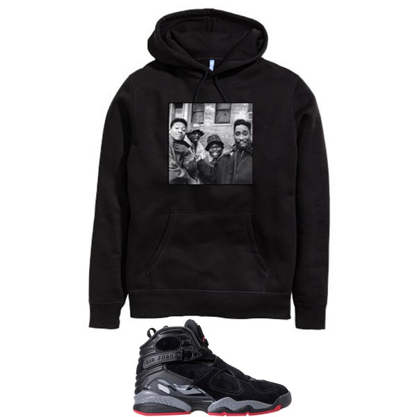 Image of JUICE RETRO 8 BRED HOODED SWEATSHIRT - BLACK