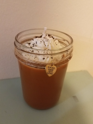 Image of Vanilla Coffee Latte scented soy candle 8 oz