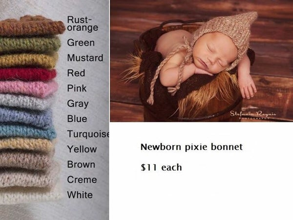 Image of Newborn pixie bonnet