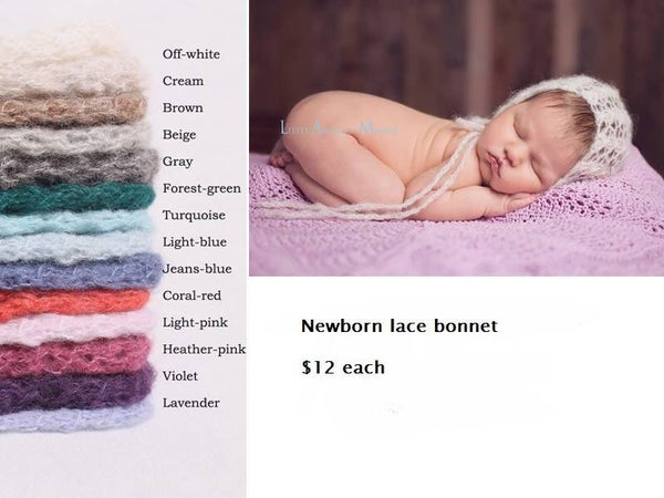 Image of Newborn lace bonnet