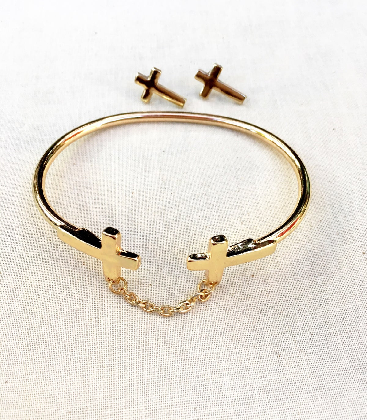 Image of Double Cross Chain and Bracelet Set