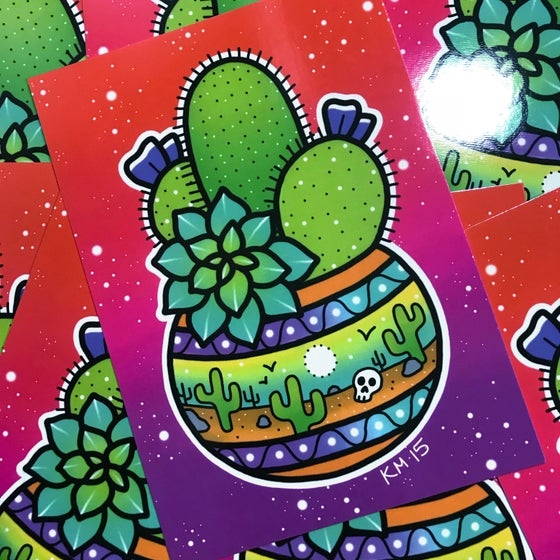 Image of 'Cactus Pot' Mini Print