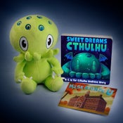 "Image of C is for Cthulhu: SIGNED Green Cthulhu plush and ""Sweet Dreams Cthulhu"" set!"