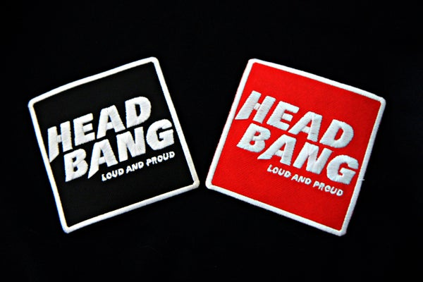 """Image of Patch brodé thermocollant """"Headbang Loud and Proud"""" (Rouge ou Noir)"""