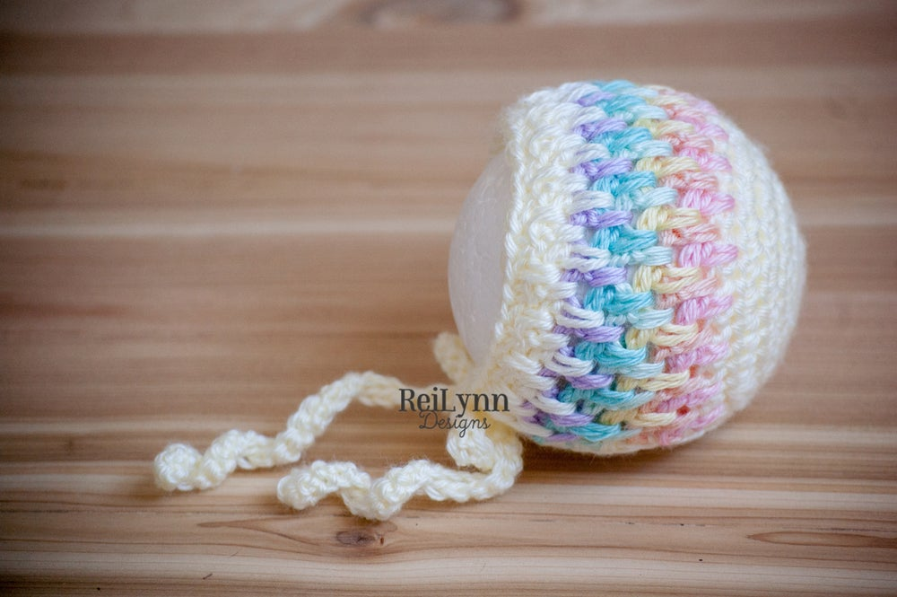Image of Pastel Rainbow Baby Bonnet