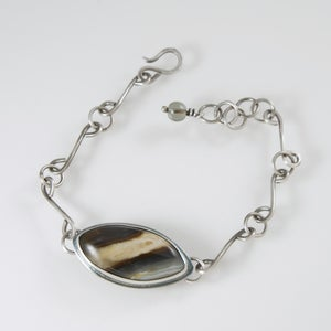 Image of Tahoma Jasper, Hand Forged Sterling Chain Bracelet
