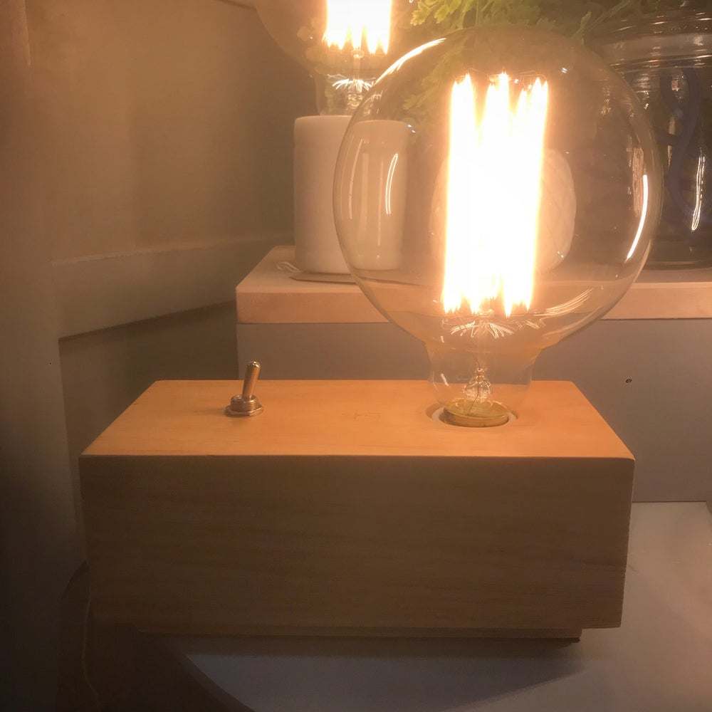 Image of Wooden Block Table Lamp with Large Edison Filament Bulb