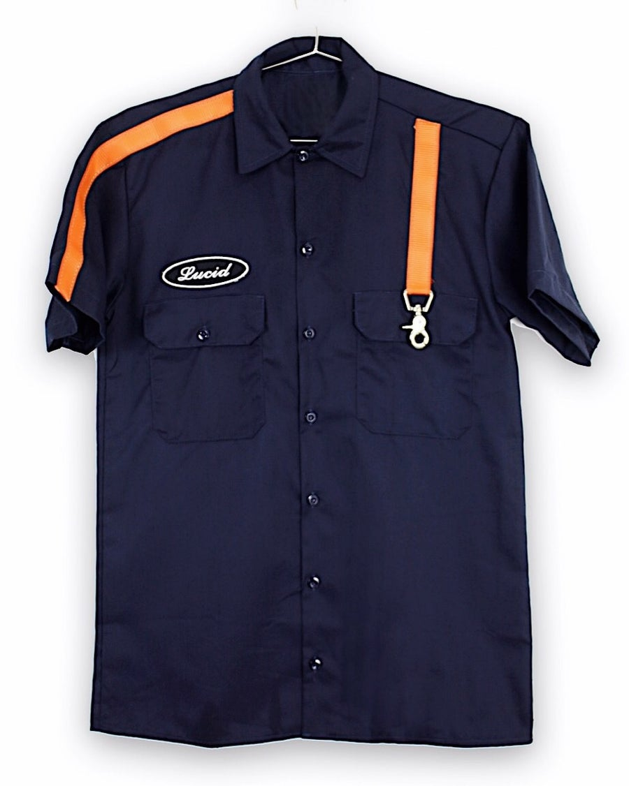 Image of 3M STRAP BUTTON UP SHIRT (LAVA/NAVY)