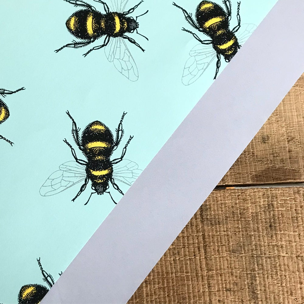 Image of Bee Wrapping Paper in Aqua