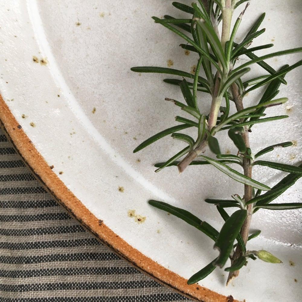 Image of Large flecked plate set of four, white glaze