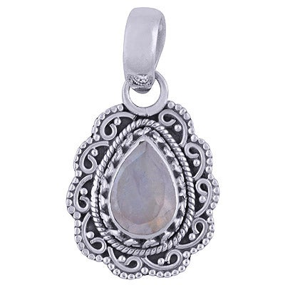 Image of Flora Sterling Silver Rainbow Moonstone Necklace