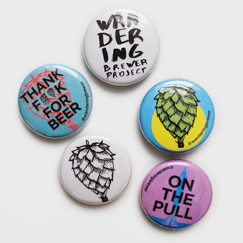Image of 5 Wandering Brewer Pin Badges