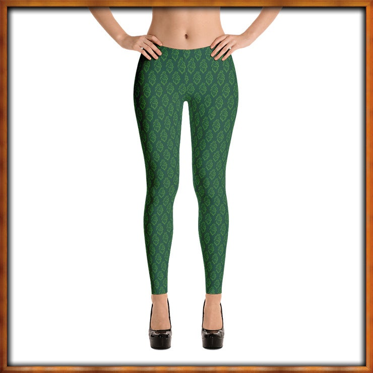 Image of Trees Print Leggings Green