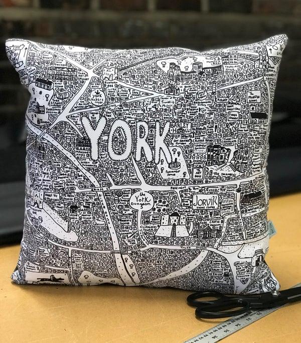 Image of York Doodle Map Cushion