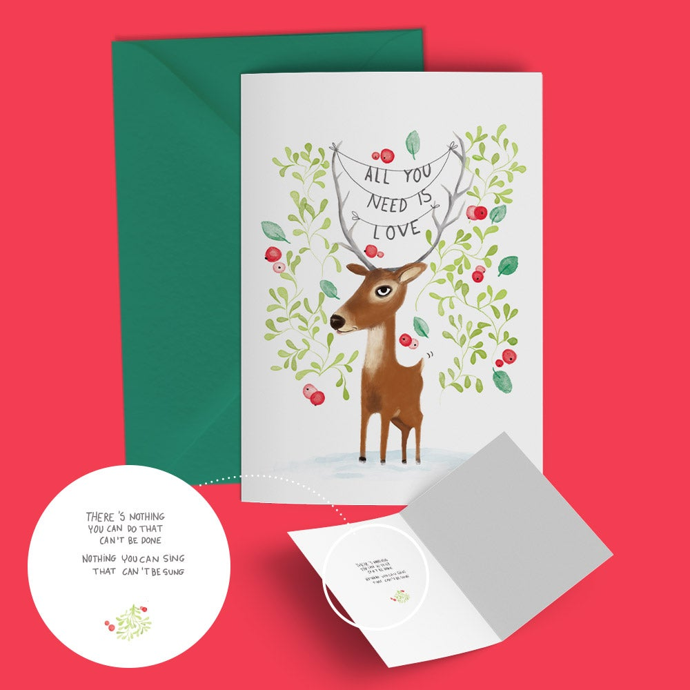 """Image of Seasonal greeting card """"deer love"""""""