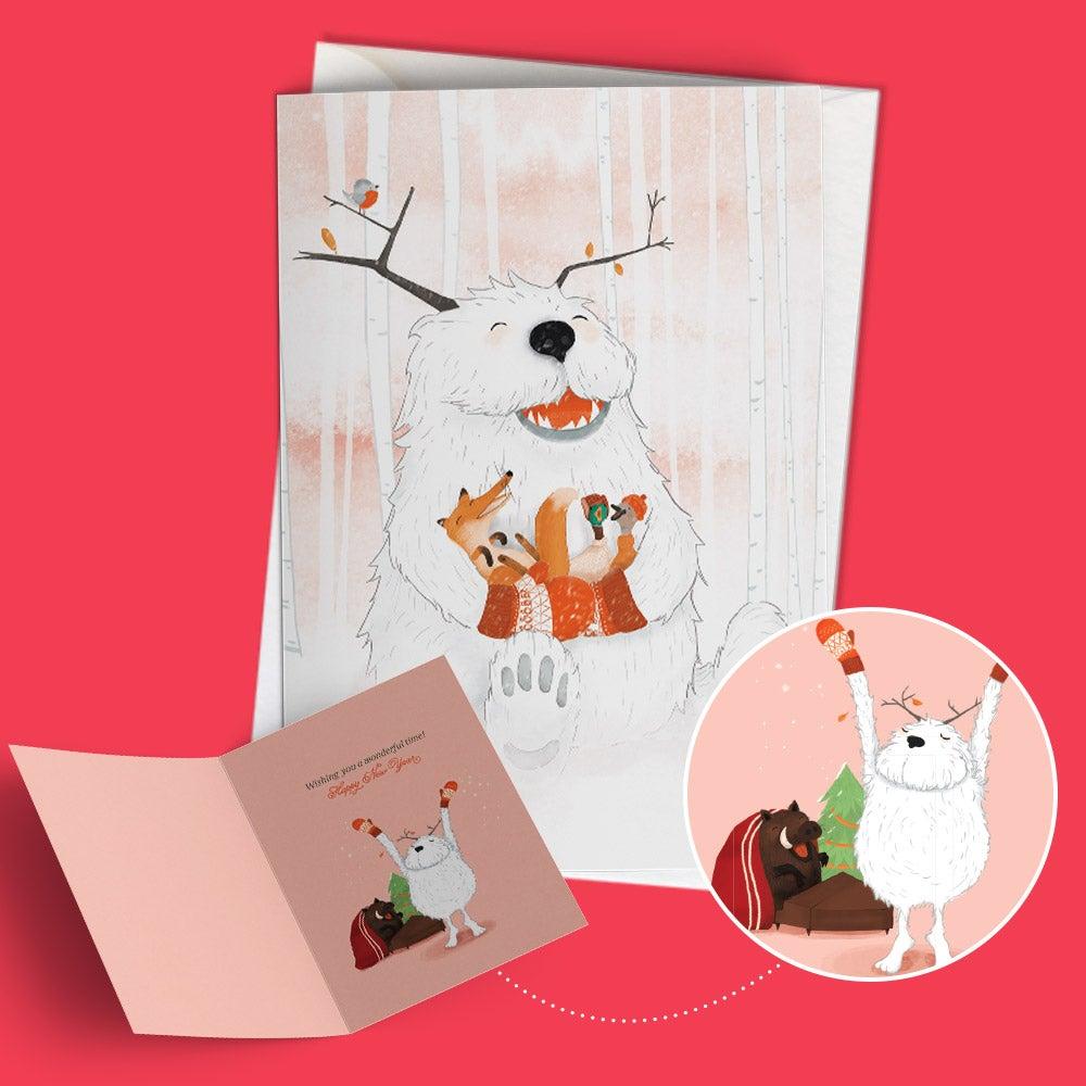 """Image of Seasonal greeting card """"Yuri the gentle yeti"""""""