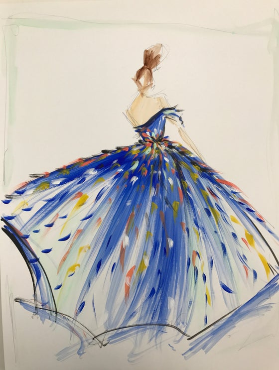 Image of Multi-Color Tulle Gown Sketch Print
