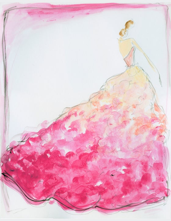 "Image of ""Ombre Bouquet"" Sketch Print"