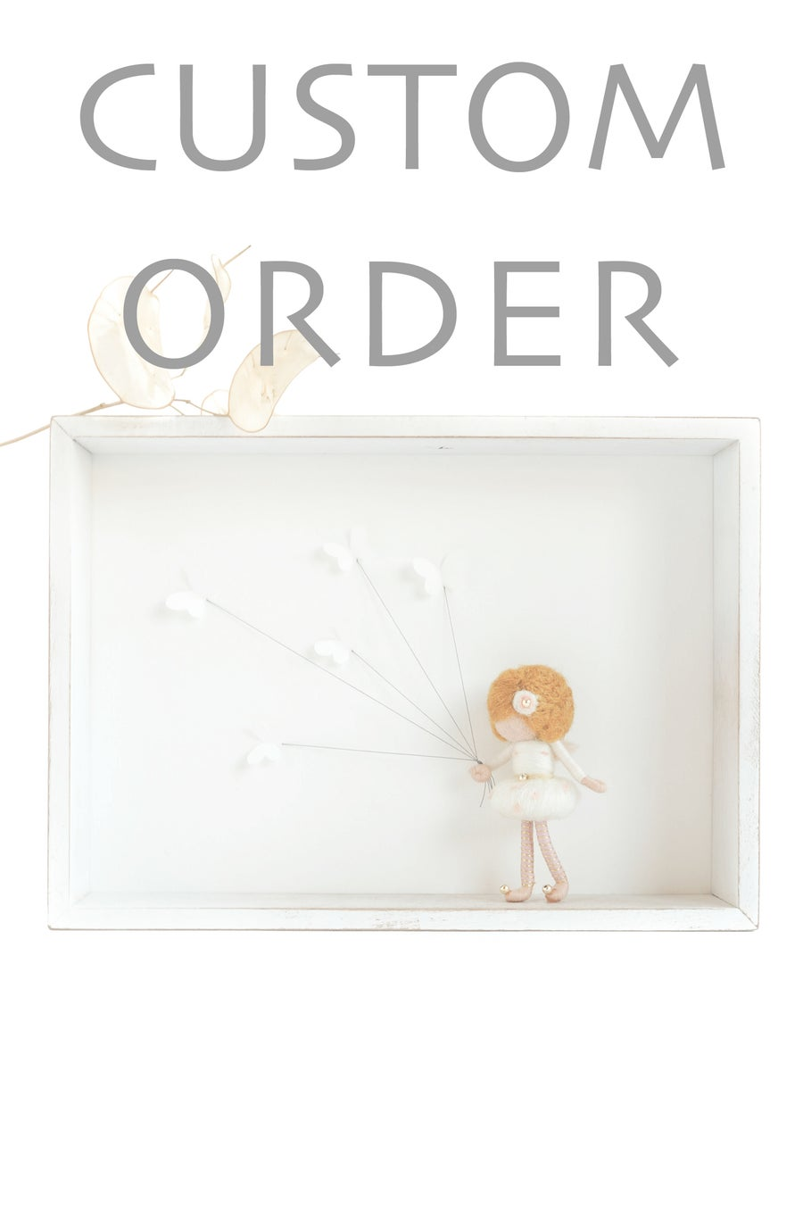 Image of NEEDLE FELTED FAIRY DOLL IN SHADOW BOX - BUTTERFLY FAIRY - CUSTOM ORDER